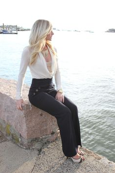 This is such a cute outfit!!!  Love the high waistef pants and the sheer blouse is great!!