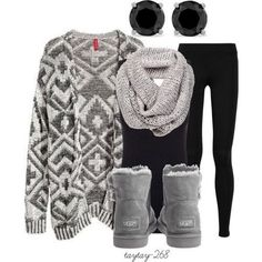 Winter Outfit/ I would like it better with black or brown leather boots, not the uggs.