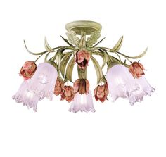 { powder room }  View the Crystorama Lighting Group 4800 Five Light Southport Handpainted Wrought Iron Floral Semi Flush Mount Ceiling Fixture at LightingDirect.com.