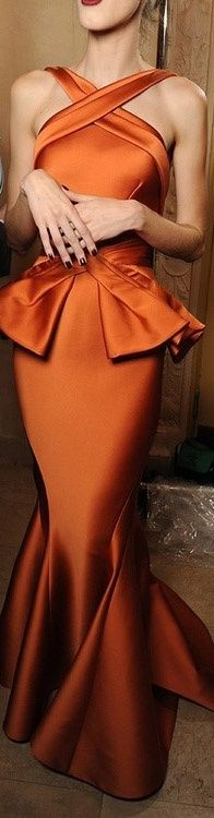 stunning orange gown - This dress is nothing short of perfection. The neckline, the shape, the peplum, the mermaid bottom