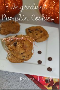 3 Ingredient Pumpkin Cookies 1) Mix 1 can pure pumpkin (not pumpkin pie, pumpkin), 1 bag chocolate chips, 1 spice cake mix.  2) Spoon onto a cookie sheet - cookies do not spread. 3) Bake in oven at 350 degrees for 12 minutes. Makes 5 dozen cookies.