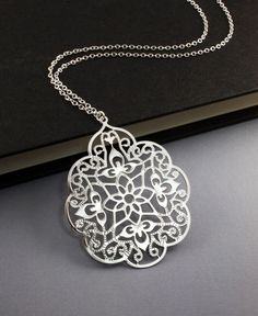 Filigree Silver Necklace. Long Chain Necklace.Valentines Day Jewelry. perfect everyday look, friends gift (WN23). $22.50, via Etsy.