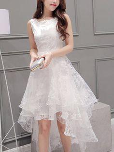 A chicloth women's elegant solid sleeveless high low organza dress mez Organza Dress, Chiffon Dress, Lace Dress, Tulle Lace, White Dress, Buy Dress, Casual Dresses, Fashion Dresses, Formal Dresses