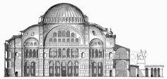 Hagia Sophia: estrutura e decorações - arte bizantina - (vroeg) Christelijke Kunst - Byzantijnse kunst - Middeleeuwen - Romaans - Architecture Byzantine, Architecture Mapping, Classical Architecture, Gothic Architecture, Architecture Details, Architecture Blueprints, Turkish Architecture, Historical Architecture, Hagia Sophia Istanbul