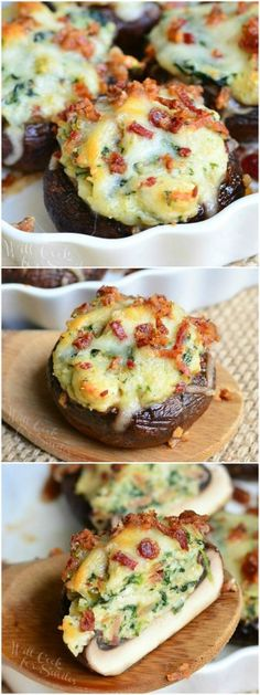 Bacon Spinach and Four Cheese Stuffed Mushrooms. Sub bread crumbs for pork rinds for keto version Incredibly delicious stuffed mushrooms, made with a flavorful mixture of crispy bacon, spinach and Italian cheese mix. Finger Food Appetizers, Appetizers For Party, Appetizer Recipes, Appetizer Dinner, Veggie Appetizers, I Love Food, Good Food, Yummy Food, Tasty