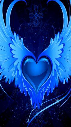 By Artist Unknown. Wings Wallpaper, Heart Wallpaper, Butterfly Wallpaper, Cellphone Wallpaper, Galaxy Wallpaper, Cross Pictures, Heart Pictures, Blue Wallpapers, Wallpaper Backgrounds