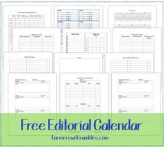 Free 2014 Editorial Calendar Printable - Farmer's Wife Rambles