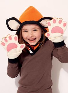 Sewing Pattern for Kids Animal-Themed Hoods and Mittens  These are just so cute. What child wouldnt love them  Make the matching sets of Animal Hoods with Paw Print Mittens  Fox Wolf Bear Kitten  Head Sizes: 19in to 22.5 in    Hood A, B, C, D in four sizes with contrast lining