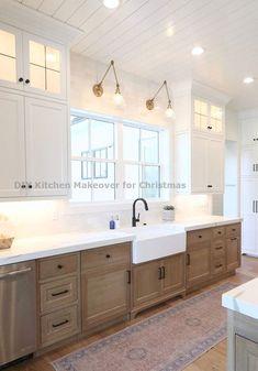 Best Kitchen Cabinets, Farmhouse Kitchen Cabinets, Modern Farmhouse Kitchens, Kitchen Cabinet Design, Modern Kitchen Design, Farmhouse Style, Kitchen Island, Wood Cabinets, Natural Wood Kitchen Cabinets