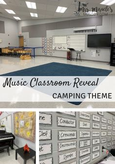 Music Classroom Reveal: Lots of great ideas for a camping-themed music room! Includes tips for organization, bulletin board ideas, and more! Preschool Classroom Layout, Music Classroom, Classroom Organization, Preschool Bulletin, Classroom Resources, Music Education Lessons, Music Lessons, Elementary Music, Elementary Library