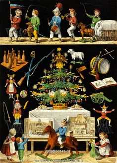 A Christmas tree and various toys, illustration from the book Klein Kinder Bilderbuch, by Leonhard Diefenbach Print. German Christmas, Antique Christmas, Christmas Past, Christmas Toys, Vintage Christmas Cards, Vintage Holiday, Christmas Decorations, Christmas Images, Holiday Decorating