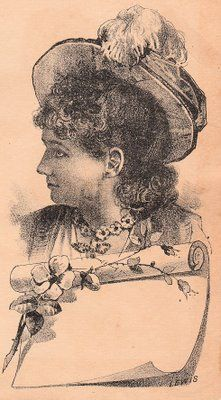 Victorian Lady with Banner Label ~ The Graphics Fairy