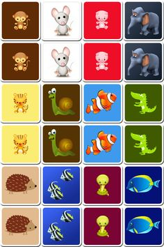 Free printable memory game for kids with cards of cute animals. Simply print and cut it to make an original memory game homemade to play with family or friends Bingo Card Creator, Printable Board Games, Free Printable, Flashcards For Kids, Memory Games For Kids, Gifted Kids, Animal Games, Matching Games, Animals For Kids