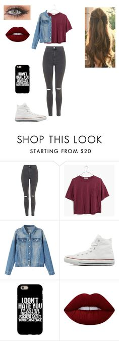 """""""#22"""" by anooukk ❤ liked on Polyvore featuring Topshop, Madewell, Converse and Lime Crime"""