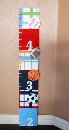 Hand painted growth chart, sports theme, madras, pottery barn, baseball, soccer, football, basketball