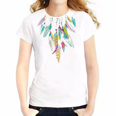 Colorful Feather Necklace print t shirt Summer Tees Tops Breathable comfort tshirt O-Neck Short Sleeve girls T-Shirts #Affiliate