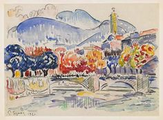 size: Giclee Print: Le Paillon, Nice Art Print by Paul Signac by Paul Signac : Fine Art Impressionist Landscape, Post Impressionism, Landscape Art, Landscape Paintings, Landscapes, Watercolor Sketch, Watercolor Paintings, Watercolours, Painting Art