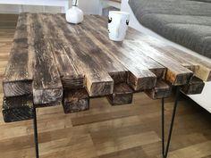 Couchtisch smal-rustic Design Rustikal Hairpin von rusticalwood