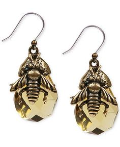 Lucky Brand Gold-Tone Bee Stone Drop Earrings - Fashion Jewelry - Jewelry & Watches - Macy's