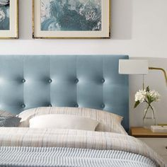 Provide the best and ultimate addition to your bedroom space with this affordable MODWAY Emily Gray Queen Biscuit Tufted Performance Velvet Headboard. Blue Headboard, Headboard Cover, Headboard With Lights, Velvet Headboard, Panel Headboard, Blue Bedding, Blue Bedroom, Master Bedroom, Queen Bedding
