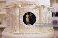 Detail of a replica wedding cake for Prince Albert, Duke of York (King George VI) and Lady Elizabeth Bowes-Lyon (Queen Elizabeth, Queen Mother) at an exhibition of Royal Wedding cakes on April 21, 2011 in London, England. The cake features in the 'Let Them Eat Cake' exhibition inside Wellington Arch on Hyde Park Corner and is open to the public over Easter from April 22, 2011 to April 25, 2011.