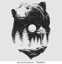 Abstract Head Of The Bear Stock Vector Illustration 342360020 : Shutterstock Bear Tattoos, Body Art Tattoos, Ship Tattoos, Ankle Tattoos, Arrow Tattoos, Gun Tattoos, Tattoo Drawings, Art Drawings, Petit Tattoo