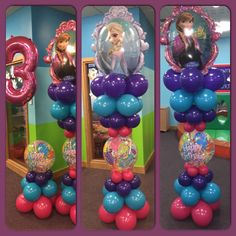 Frozen Theme Balloons Balloon Pillars, Balloon Tower, Balloon Display, Balloon Backdrop, Balloon Garland, Balloon Decorations, Balloon Ideas, Frozen Balloons, Big Balloons