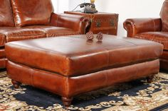 The Sea Fury Leather Ottoman...large enough for two people to put their feet up in luxurious comfort!