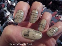 Newspaper nails! Base colour is Jessica Wing It.
