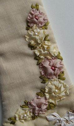 crazy quilting embellishments | Peace in Pieces 007 – Details 941 and 942 – Silk Ribbon Flowers ...