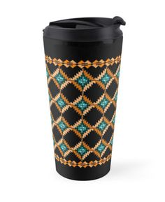 Art for travelers. Old Gold Royal Embroidery Net Travel Mug. High quality product designed by independent artist. Perfect gift for her.#ArtForTravelers
