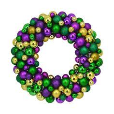 Mardi Gras ornament wreath ... love these!