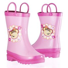 Girl's Pink Floral Monkey Rain Boots