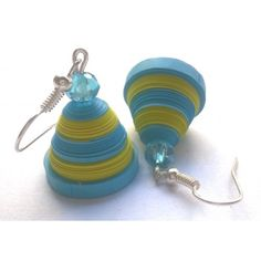 cute blue and green quilled jhumka