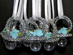Baby Shower Pacifier Necklace (12 Pieces) / Baby Shower Favors / clear and Tiffany blue flower  Rhinestone mesh