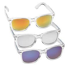 Nerd Sonnenbrille im Retro Vintage Stil, unisex Brille (transparent und verschieden verspiegelt)