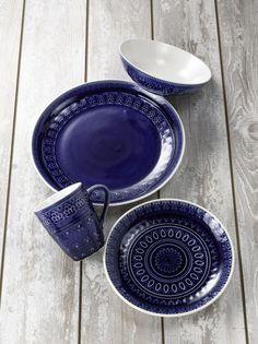 Fez 16 Piece Dinnerware Set in Blue by Euro Ceramica #EuroCeramica