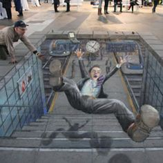 street art so incredible you could mistake it as real. Everything is better with art. Amazing street art that will blow you away. 3d Street Art, 3d Street Painting, Amazing Street Art, Street Art Graffiti, Street Artists, Amazing Art, 3d Painting, Awesome, Illusion Kunst