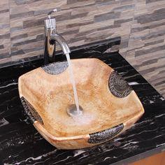 Elimax's 2030+882002 Square Matt Yellow Glaze Porcelain Ceramic Bathroom Vessel Sink with Faucet Combo
