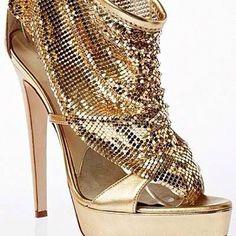 Gold mesh heels