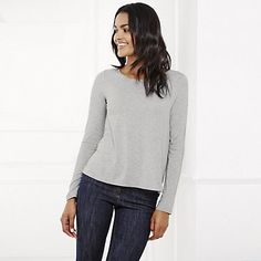 Gathered Back Yoke Jersey Top - Silver Grey Marl | The White Company