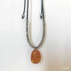 Sterling Silver & Amber LUNA Necklace | One-of-a-Kind, Unique Necklace | Amber and Sterling Silver Necklace