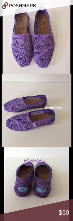 Purple Crochet Toms NWOT New. Never worn. No damage or problems. Ships without box. Bundle discount  ⭐️5 star rated Suggested User Smoke free home I don't trade  Thank you for shopping with me. Please feel free to ask questions TOMS Shoes Flats & Loafers