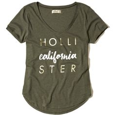 Hollister V-Neck Easy Graphic Tee ($20) ❤ liked on Polyvore featuring tops, t-shirts, olive with shine, metallic t shirt, v neck graphic t shirts, olive t shirt, military green t shirt and v neck t shirts