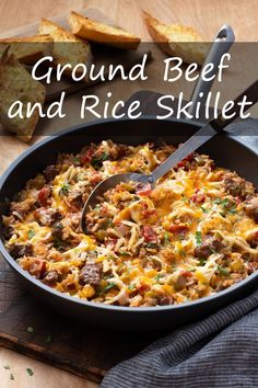Ground Beef and Rice Skillet is a hearty, comforting, one-pan dinner that's easy to make, easy to clean up, and easy to love! Healthy Beef Recipes, Real Food Recipes, Easy Recipes, One Pan Dinner, Beef And Rice, One Pan Meals, How To Make Breakfast, Quick Easy Meals, Ground Beef