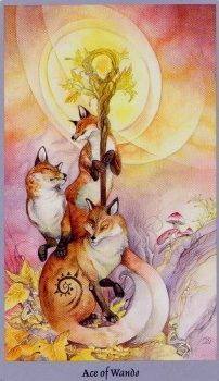 An intriguing Ace of Wands from the Shadowscapes Tarot deck!