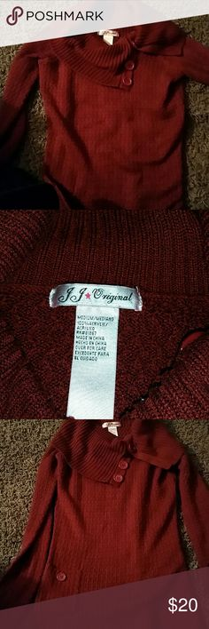 J.J. Original red wine color size M sweater Gorgeous JJ Original sweater with loose side button neck and 1 front pocket great for these chilly days or nights. Red wine color size M.  brand J.J. Original  (not original retro brand) in great used condition no flaws Original Retro Brand Sweaters Cowl & Turtlenecks
