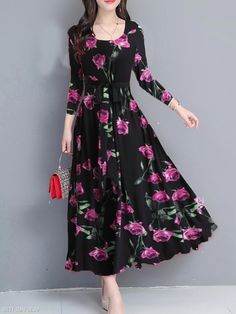 Ruched Three-Quarter Sleeve Large Size Loose Dress Find latest women's clothing, dresses, tops, outerwear, and other fashion clothing and enjoy the worldwide shipping # Cheap Maxi Dresses, Polka Dot Maxi Dresses, Floral Maxi Dress, Stylish Dresses, Nice Dresses, Fashion Dresses, England Fashion, Maxi Dress With Sleeves, Sleeve Dresses