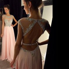 2016 Pink Beaded Illusion Cap Sleeves Chiffon Prom Gown With Back Out