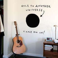ThisAnother Universe Wall Decalembodies an unspoken rule of dorm living: Enter at your own risk. It gives the illusion of a black hole in your wall leading to some other dimension. Self-adhesive and easily removable, it's a creative way to keep your roommate away from your stuff.